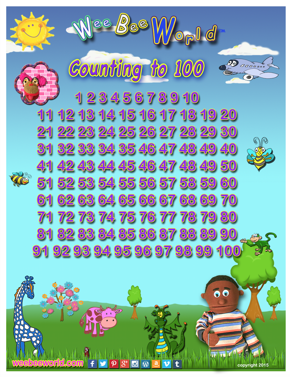 Count to 100 Mini Poster