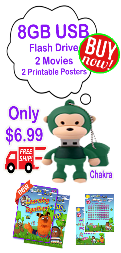 "Chakra 8GB Green Monkey USB Flash Drive load with ""Learning is Fun!"" and ""Learning Together"" movies and more!"